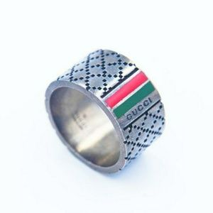 Gucci Guccissima Cross Stitch Ring Silver